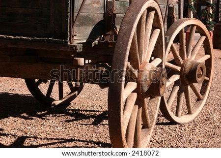 Antique wagon on display in the Wild West town of Tombstone Arizona - stock photo