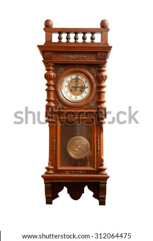 Antique wall clock isolated on white background.
