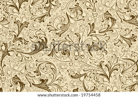 antique wallpaper with floral pattern - stock photo