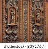 Antique Wardrobe -- beautiful wood carvings on Dutch colonial furniture from the 17th century - stock photo