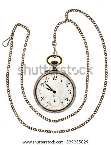 Antique  watch a chain on a white background. - stock photo