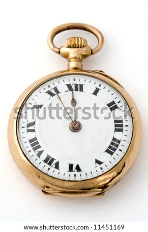 Antique watch, almost 12:00 - clipping path included