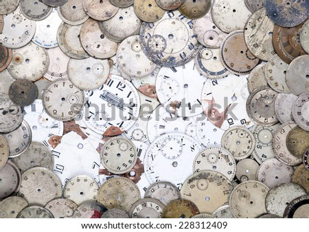 Antique watch faces - stock photo