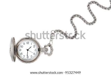 Antique watch with a chain isolated on a white background