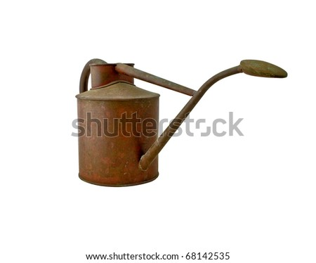 Antique Watering Can isolated, with clipping path - stock photo