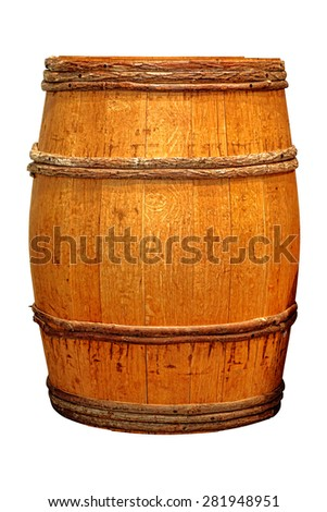 Antique whisky barrel or wine cask wood liquid container with vintage wooden hoops isolated on white background  - stock photo