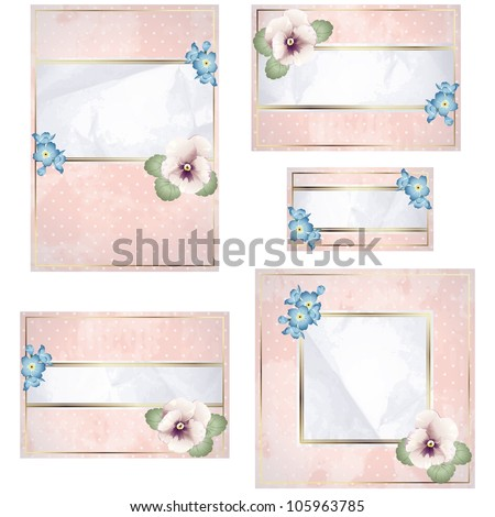 Antique white and pink wedding banner with flowers (jpg); EPS10 version also available - stock photo
