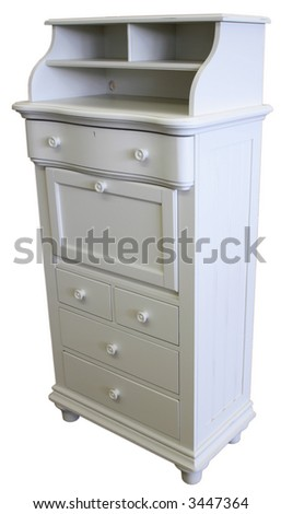 Antique White Chest with Drop Lid Secretary Desk Lid - stock photo