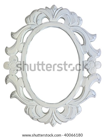 Antique White Frame on White Background - stock photo