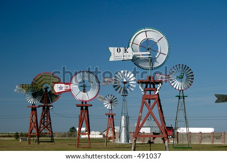 Antique windmills in Spearman, Texas.