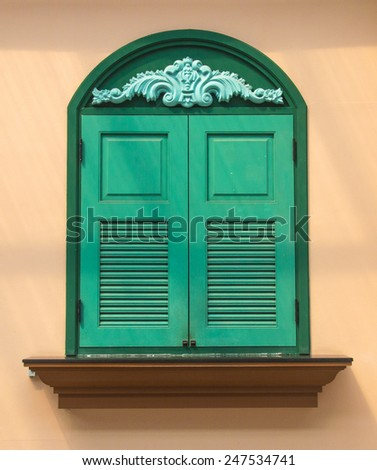 antique Window Wood on the wall - stock photo