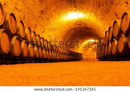 Antique Wine Cellar with Wooden Barrels - stock photo