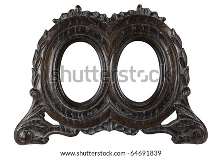 Antique wood double oval picture frame with all grunge intact. Early 1900 style. With work path. - stock photo