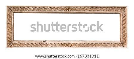 antique wood frame - stock photo