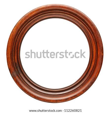 Antique wood round frame. Isolated on white - stock photo