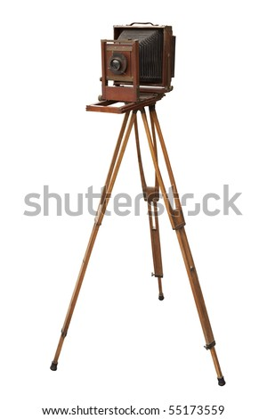 Antique wood view camera and tripod. Isolated with work path. - stock photo
