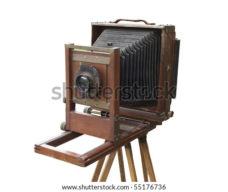 Antique wood view camera and tripod. Isolated with work path. Dust, dings, and wear intact. - stock photo