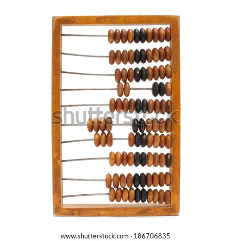 antique wooden abacus  abacus isolated on white - stock photo