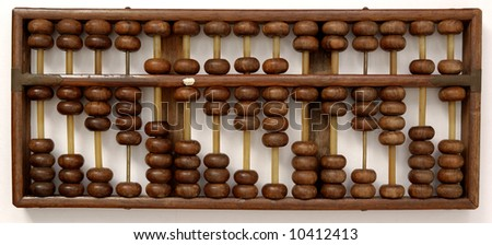 Antique wooden abacus indicating number 1 to 9 from left to right