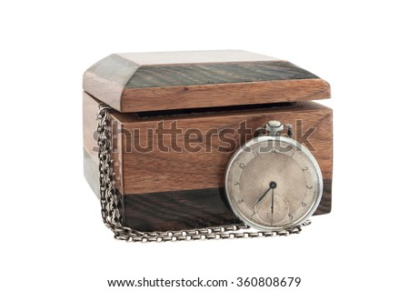 antique wooden box with vintage pocket watch isolated on white background. - stock photo