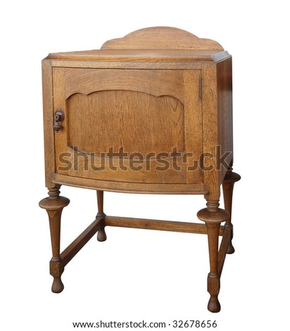 Antique Wooden Cabinet isolated with clipping path. - stock photo