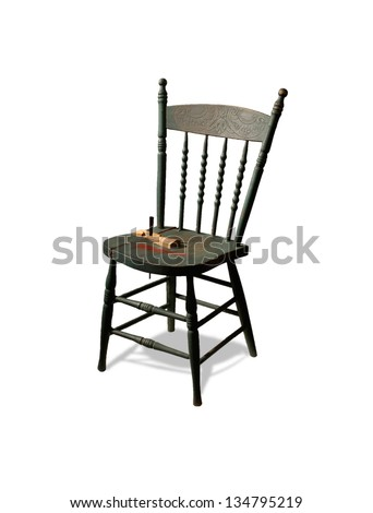 Antique wooden chair  isolated on white