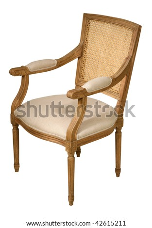 Antique wooden chair, isolated on white background