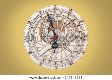 antique wooden clock close up - stock photo