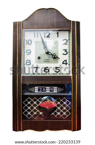 Antique wooden clock isolate on white background - stock photo