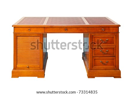 Antique wooden desk isolated included clipping path - stock photo