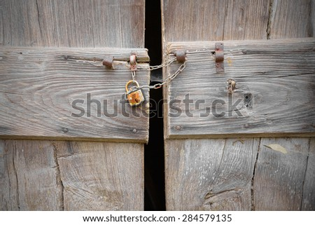 Antique wooden door chained and padlocked slightly ajar glimpse through a window a dark cave & Door Ajar Stock Images Royalty-Free Images \u0026 Vectors | Shutterstock Pezcame.Com
