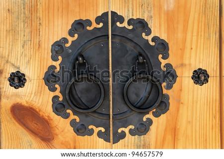 antique wooden door korean style - stock photo