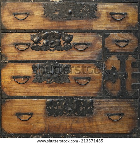 Antique wooden drawers - stock photo