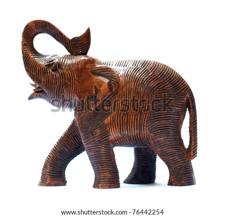 Antique Wooden Elephant isolated over white - stock photo