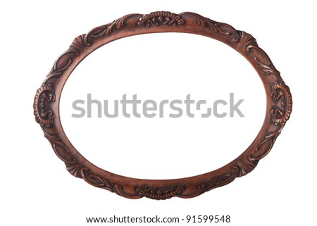 Antique wooden frame isolated on white - stock photo