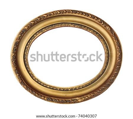 Antique wooden frame with gold ornament isolated on white. - stock photo