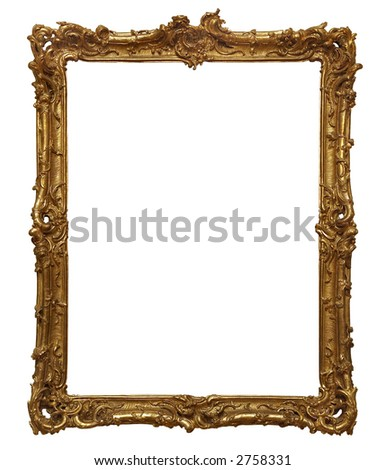 Antique wooden golden frame. - stock photo