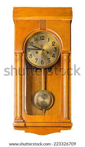 Antique wooden horizontal wall pendulum clock isolated on white background. File contains a clipping path. - stock photo