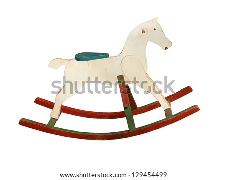 Wooden rocking horse Stock Photos, Illustrations, and Vector Art