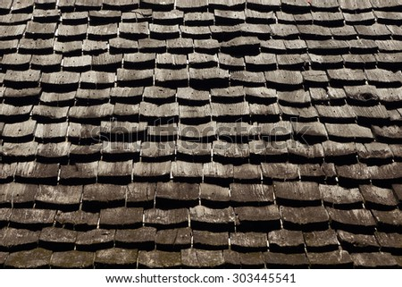 Antique wooden roof pattern detail. - stock photo