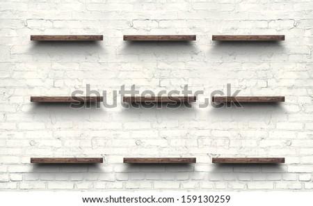 Antique Wooden Shelf on Brick Wall. Old Shelf. Shelf on the Wall. Shelf in Vintage Style, Blank Shelf. Old Board, Old Rack. Wooden Bookshelf. Grunge, Wall, Brick, Empty Shelf - stock photo