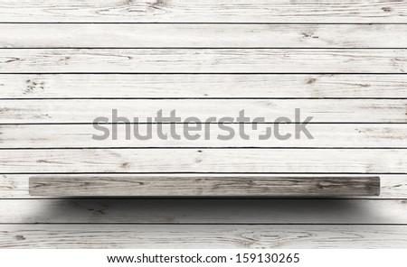 Antique Wooden Shelf on Old Wooden Wall. Old Shelf. Shelf on the Wall. Shelf in Vintage Style, Blank Shelf. Old Board, Old Rack. Wooden Bookshelf. Grunge, Wall, Empty Shelf. - stock photo