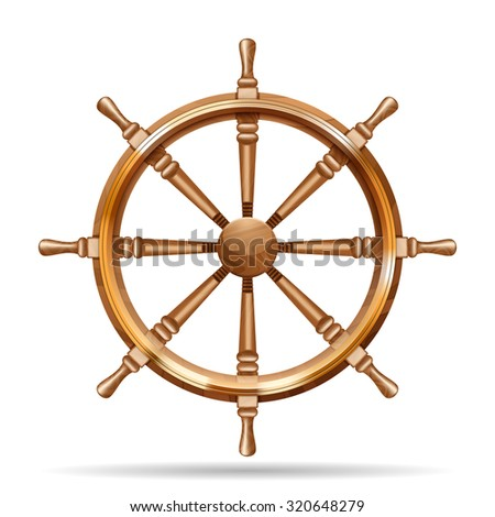 Antique wooden ship wheel on the white background isolated  illustration