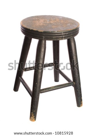 Antique wooden stool - stock photo