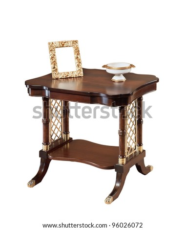 antique wooden  table isolated on white - stock photo
