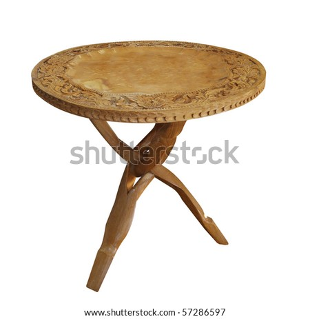 Antique Wooden Table isolated with clipping path - stock photo