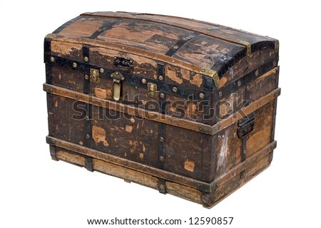 Antique wooden trunk on white - stock photo