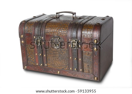 Antique wooden trunk on white background - stock photo