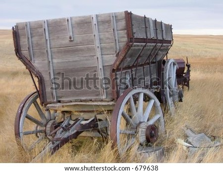 antique wooden wagon - stock photo