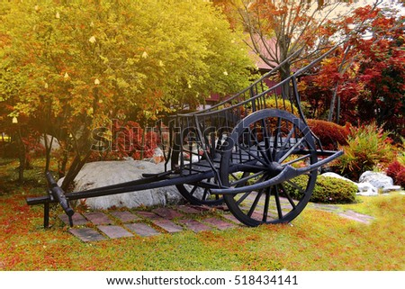 Antique wooden wagon among the trees and grass turnovers.